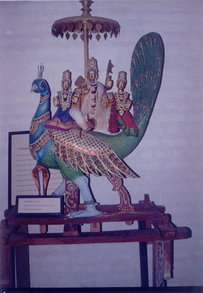 Carved Peacock, Vehicle of Murugan, Dakshin Chitra, Chennai, India