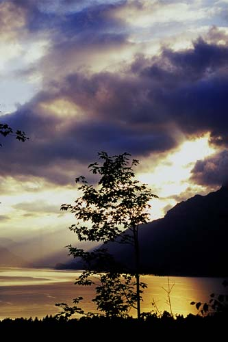 Sunset on Brienz Lake, seen from Ballenberg,Switzerland
